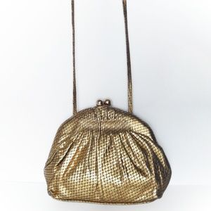 Vintage Gold Woven Leather Evening Clutch